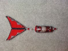 Lamp  Worked Bead with red bale.
