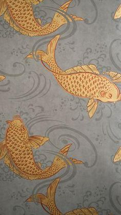 Osborne Little Derwent Ornamental Koi Carp in a swirling grey pool. This oriental style wallpaper is named after the River Derwent, West Cumbria. Chinoiserie, Bathroom Wallpaper Fish, Goldfish Wallpaper, Wallpaper Toilet, Osborne And Little Wallpaper, Deco Nature, Downstairs Toilet, Downstairs Cloakroom, Art Japonais