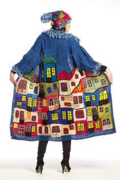 cj Blue Hundertwasser handmade knitted coat by annalesnikova Gilet Crochet, Crochet Coat, Knitted Coat, Freeform Crochet, Crochet Clothes, Crochet House, Coat Patterns, Knitting Patterns, Crochet Patterns