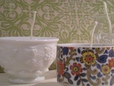 Tutorial for how to make recycled teacup soy candles. It looks like they can be made with just about any containers like mason jars, perhaps.