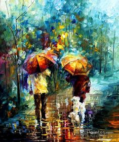 Leonid Afremov Friends With A Dog oil painting reproductions for sale