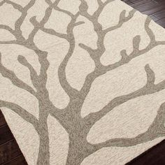 Tree Coral Hooked Outdoor Rug - Teal Blue or Smoky Brown