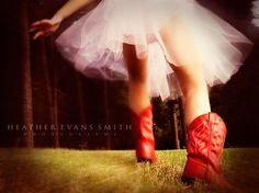 I use to have a pair of red cowboy boots like this when I was little. I wore them everywhere so it wouldn't surprise me if I wore a tutu with them :)
