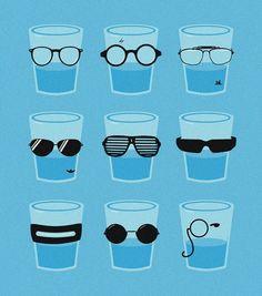 Glasses by Zach Terrell (print) Optometry Humor, Funny Illustration, Eye Art, Eye Glasses, Shot Glasses, Geek Stuff, Design Inspiration, Graphic Design, Art Prints