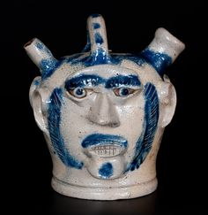 """Exceedingly Rare and Important Cobalt-Decorated Stoneware Presentation Harvest Jug with Applied Faces, Incised """"R. Simkin,"""" attributed to Henry Harrison or Richard Clinton Remmey, circa H (to top of handle) 7 Antique Stoneware, Stoneware Crocks, Antique Pottery, Or Antique, Glazes For Pottery, Ceramic Pottery, Pottery Art, Glazed Pottery, Old Crocks"""