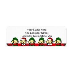 Christmas Six Yellow Lab Puppies Custom Return Address Label by Naomi Ochiai