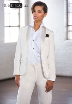 Women's Ivory Tuxedo by David Tutera #littleblacktux #davidtutera #womentuxedo…