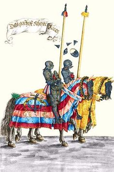 German Knights in Horseback in Procession