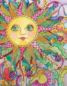 Midnight in My Psychedelic Garden, Singleton Hippie art Original Hippie Kunst, Hippie Art, Sun Moon Stars, Sun And Stars, Zen Doodle, Doodle Art, Zantangle Art, Doodles, Sun Art