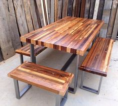 Custom Outdoor/ Indoor Rustic Industrial/ by KageDesignStudio Wood Patio, Patio Table, Wood Table, A Table, Dining Table, Dining Room, Metal Furniture, Pallet Furniture, Industrial Furniture