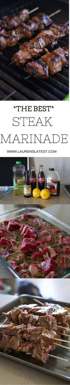 An easy and simple homemade meat marinade for summer! Made with soy sauce, garlic, oil, lemon juice and Coca-Cola, this will make you love steak even more than you already do! Best Marinade For Steak, Beef Kabob Marinade, Steak Marinades, Homemade Steak Marinade, Marinated Steak Kabobs, Steak Tenderizer Marinade, Mexican Steak Marinade, Venison Steak Marinade, Best Steak Sauce