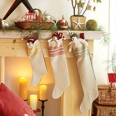 Tea towel stocking - easy christmas crafts
