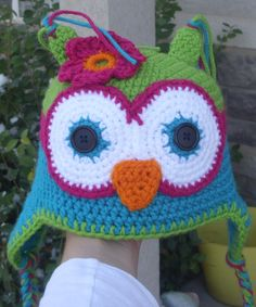 This is fun owl hat.  Kids love these! They are so warm and soft.  For more information about this hat check out my Etsy site www.etsy.com/shop/AmysCrocheting