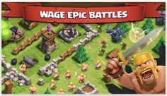 App store screenshot for Clash of Clans. Notice the gameplay screen, along with mascot/character image, and banner with text to hook the user Ipod Touch, Clash Of Clans Attacks, Coc Update, Clash Games, Ipad, Game Guide, Good Tutorials, Clash Royale, Strategic Planning