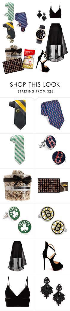 """""""We come bearing gifts."""" by raspberry-stegosaurus ❤ liked on Polyvore featuring Eagles Wings, Vineyard Vines, Cufflinks, Inc., FREDS at Barneys New York, Michel Cluizel, Coast, Christian Louboutin, T By Alexander Wang and Tasha"""