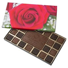 Mother's Day Red Rose and Baby's Breath Box of Chocolates 45 Piece Assorted Chocolate Box
