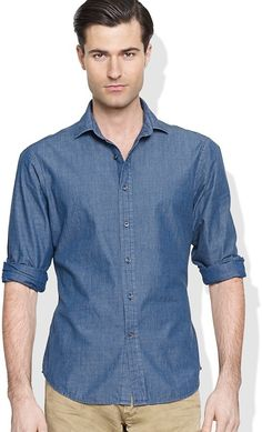 $159, Blue Chambray Long Sleeve Shirt: Ralph Lauren Black Label Chambray Sloan Shirt. Sold by Bloomingdale's. Click for more info: https://lookastic.com/men/shop_items/169861/redirect