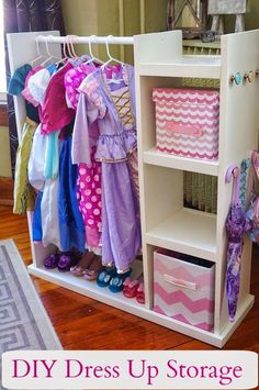 DIY Dress Up Storage Center Playroom Organization Center DIY Dress storage Kids Storage, Storage Hacks, Toy Storage, Storage Ideas, Storage Cart, Storage Solutions, Dressing Up Storage Kids, Girls Room Storage, Purse Storage