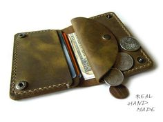 Handgefertigte Leder Geldbörse - distressed Leder Wallet - grün braun Leder Mini Geldbörse für Geld, Karten und Münzen - hand genähte Tasche