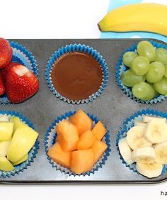 Chocolate and Fruit Fondue: This is both the perfect after-school snack or an easy weeknight dessert. Simply cut up various pieces of fruit and place in the empty spaces of a muffin tin—all the spaces except one. Pour melted chocolate chips combined with 1 tsp of coconut oil in the last one. What you get is an irresistible, colorful healthy treat.