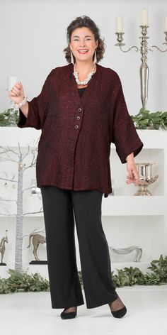 Kasbah red jacquard evening jacket and trouser
