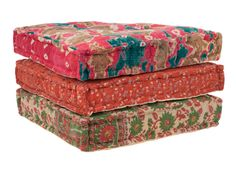 kantha floor cushion hand stitched front from vintage saris