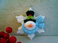 *POLYMER CLAY ~ Snowman/Snowflake  - Holiday Ornament
