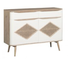 Sideboard 2 drawers 2 doors in solid wood (mango wood), canework on faces Retro Sideboard, Credenza, Tons Clairs, Buffet, Water Based Stain, Interiores Design, Retro Fashion, Solid Wood, Drawers