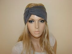 dark grey heather turban headband jersey yoga by OtiliaBoutique