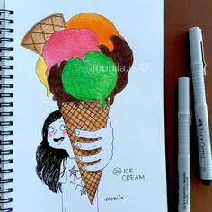 Monila handmade,i ghirigori di Monila,ice cream,illustration,illustrazione,gelato