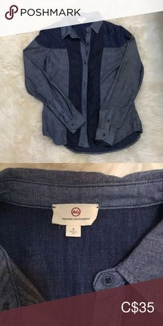 AG chambray shirt This chambray shirt is so soft! Worn once. True to size. Ag Adriano Goldschmied Tops Button Down Shirts Chambray, Denim Button Up, Button Up Shirts, Plus Fashion, Fashion Tips, Fashion Trends, Adriano Goldschmied, Outfits, Collection