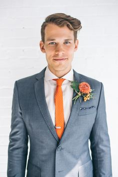 i like the suit and tie. Groom in Orange Tie | photography by http://www.emmylowephoto.com