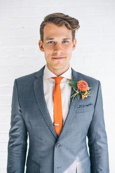 Groom in Orange Tie | photography by http://www.emmylowephoto.com