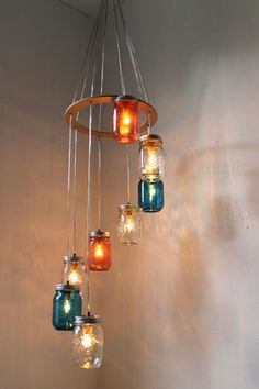 137 Creative Things You Didn't Know You Could Do With Mason Jars don't like the colors, but cool for stairwell