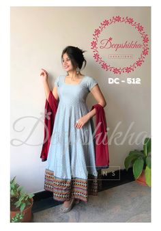 DC - 512. Beautiful ice blue color floor length anarkali dress with maroon dupatta. For queries kindly WhatsApp: +91 9059683293 22 April 2018