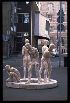 States of Being by Damian Fennell, 1999-2001. Plaster, mild steel, expanding foam, lathe, plywood. In Waterloo outside the original Art Academy building next to the former Eurostar terminal in 2001.