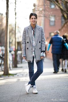 Leandra Medine | Stella McCartney blazer, Dries Van Noten blouse, Maje pants, Golden Goose sneakers | Nolita, New York | April 7, 2013.