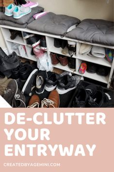 Take easy steps to declutter your front entryway. Organize your shoes and make your front entryway pretty. Shoe Organizer Entryway, Hallway Storage, Entryway Organization, Home Organization Hacks, Organizing Your Home, Shoes Organizer, Storage Design, Shoe Storage, Diy Storage