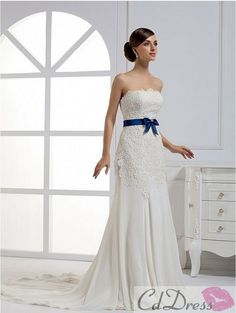 Lace and Chiffon Strapless A-Line Wedding Dress with Girlish Bow Waistband - Lace Wedding Dresses - Wedding Dresses - CDdress.com