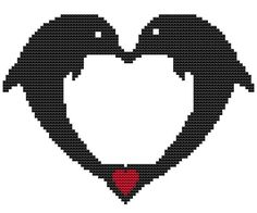 Modern Cross Stitch Kit 'Dolphins in Love' by FredSpools on Etsy
