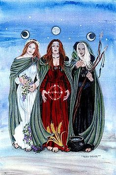 Wicca is a fertility-based religion founded in the by Gerald Gardner, supposedly based as much as possible on pre-Christian British traditions and ceremonial magic societies/orders. Exactly what defines a Wiccan depends on who you ask, but … Celtic Goddess, Goddess Art, Moon Goddess, Brighid Goddess, Triple Goddess Symbol, Maiden Mother Crone, Irish Mythology, Tatoo Art, Witch Art