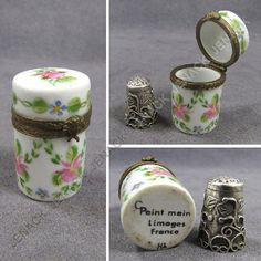 LIMOGES PORCELAIN THIMBLE CASE WITH MEXICAN SILVER THIMBLE, 19/20TH CENTURY.