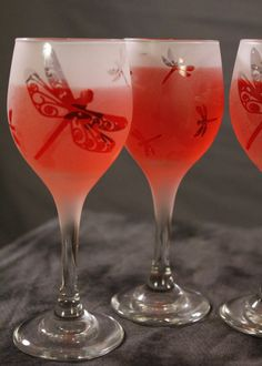 4 oz. Dragonfly Frosted Etched Wine Glasses Set by DeeLuxDesigns