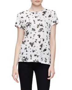 Short-Sleeve Jewel-Neck Floral Tee, White/Black Floral, Size: MEDIUM, White/Black Florl - Proenza Schouler