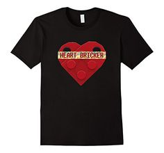 Valentines Day Shirt With LEGO Toy Brick Heart Valentines Charm For boys. Great Valentines day themed t shirt for boys who love to play and build with LEGOS!. Shirt features interlocking Modified 3 x 2 LEGO Plates with Hole in the shape of a valentines day heart and the words HEART BRICKER in the fun LEGO brick toy font. This fun creation is seen most often as a heart necklace charm, buy it in TSHIRT form today! #ValentinesDay #LEGO #Heart #Valentines #ForGirls #LEGOS #HEARTBRICKER #forBoys