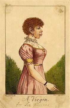 A young light-skinned black woman, three-quarter length, in profile to right, wearing a high waisted pink dress of around 1805, a frill at t...