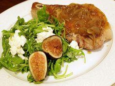 Easy Pork Chops with Fig and Arugula Salad