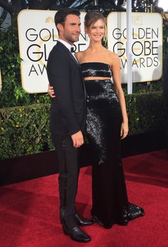 Adam Levine and Behati Prinsloo at the 72nd Annual Golden Globe Red Carpet