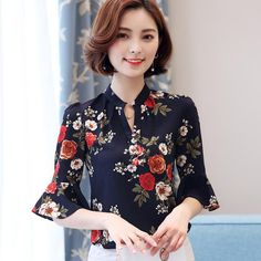 4669e064a8dccf 2017 Summer Foreign Floral Blouse Printing Shirt Women V-neck Horn Sleeve Chiffon  Shirt Korean Fashion Clothing Ladies Tops