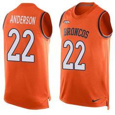 broncos #22 C.J. Anderson Orange Team Color Men's Stitched NFL Limited Tank Top Jersey